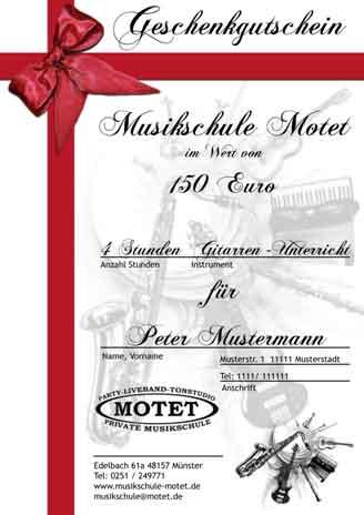 Gutscheine Schlagzeugunterricht Muenster schlagzeug lernen muenster motet - Gutscheine - Tonstudio Münster Motet-Records